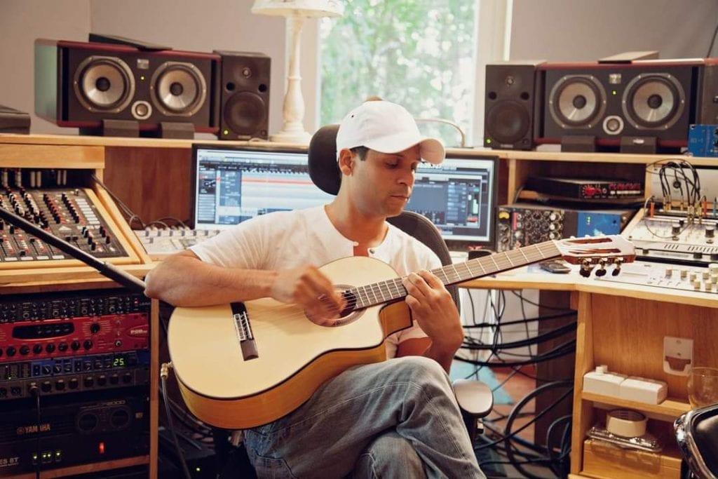 Olivier Cerdor in a music studio